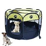 YOUJIA Faltbar Hunde Laufstall Tierlaufstall Für Kleintiere Tragbar Outdoor Welpenlaufstall (Gelb, S)