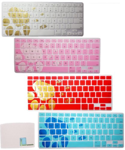"Llamamia 4 Colorful Silicone Keyboard Covers Skins For Macbook 13"" Unibody / Macbook Pro 13"" 15"" 17"" With Or Without Retina Display / New Macbook Air 13"" / Mac Wireless Keyboard (Bear'S Paw And Fish)"