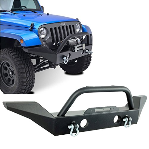 Restyling-Factory-07-16-Jeep-Wrangler-JK-Full-Width-Front-Bumper-With-Fog-Lights-Hole-and-Winch-Plate-Built-In-Textured-Black