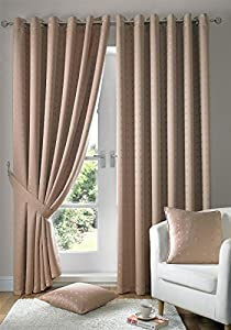 """Jacquard Check Latte Beige 90x72"""" 229x183cm Lined Ring Top Eyelet Curtains Drapes from Curtains"""