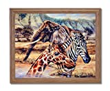 African Elephant Zebra Giraffe Animal Wildlife Home Decor Wall Picture Oak Framed Art Print