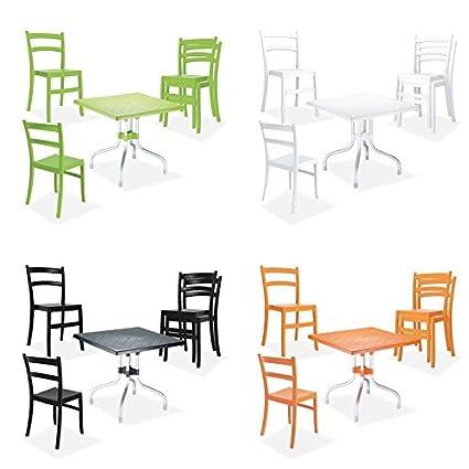 CLP Conjunto muebles de jardín balcón ESTRELLA - 4 sillas de jardín apilables + 1 mesa cuadrada plegable 80 x 80 cm, hasta 4 colores para elegir naranja