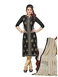 Fashion Stop Chanderi Embroidered Dress Material