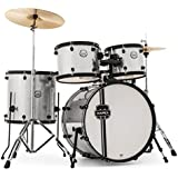 Mapex VR5254 5 Piece Voyager Drum Set Silver Sparkle with Black Hardware Cymbals and Throne