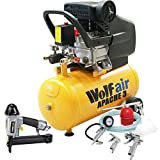 Wolf Apache 3 24 Litre, 2HP, 7.4CFM, 230v, MWP 116psi Air Compressor + 5 Piece Air Tool Kit: 5m Hose, Gravity Feed Spray Gun, Tyre Inflator, Long Nozzle Sprayer and Blow Gun + Air Nailer