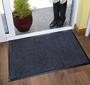 Heavy Duty Grey Black Hardwearing Machine Washable Mats Absorbent Cotton Small Large Floor Barrier Mat from The Rug House
