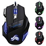 TGE 5500 DPI 7 Buttons LED Optical USB Wired Gaming Mouse Mice for Gamer PC MAC