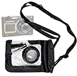 DURAGADGET Compact Camera Case in Black for Samsung DV300F Smart, Samsung ST200F Smart, Samsung ST77, ST88, Wb150F, WB750, WB850F & ST66 - Premium Quality, Water-Resistant Pouch with Zoom Lens Compartment, Cross-Body Strap & Air-Locked Seals