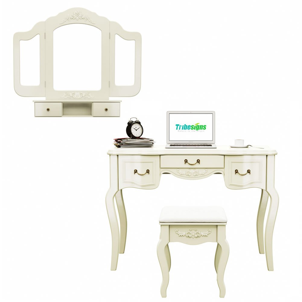 Tribesigns French Vintage Ivory White Vanity Dressing Table Set Makeup Desk with Stool & Mirror Bedroom 5