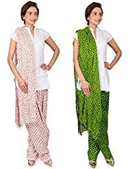 Womens Cottage Combo Pack Of 2 Printed Cotton Semi Patiala & Cotton Dupatta With Lace Set - B01G1GJ160