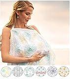 El Viento ムレない 授乳ケープ 汗っかきの赤ちゃんに優しい 綿100% ガーゼ 生地 ワイヤー入り 収納袋付き (ガーデン)