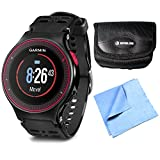 Garmin Forerunner 225 GPS Running Watch w/ Heart Rate - Black/Red Bundle includes Forerunner 225, Case and Microfiber Cloth