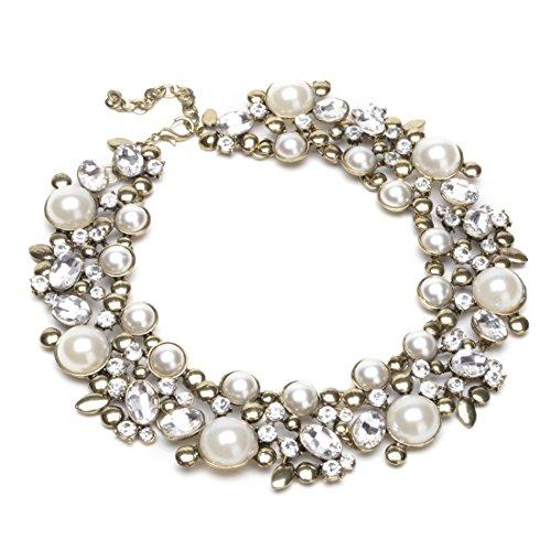 Weinlese-Goldkette-Weiss-Perlen-Kette-halskette-transparent-Kristall-Charme-Halsreif-Erklaerung-Kollier-Halskette-Statement