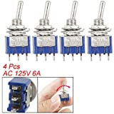 Amico 4 Pcs AC 125V 6A 3 Pin SPDT On/Off/On 3 Position Mini Toggle Switch Blue