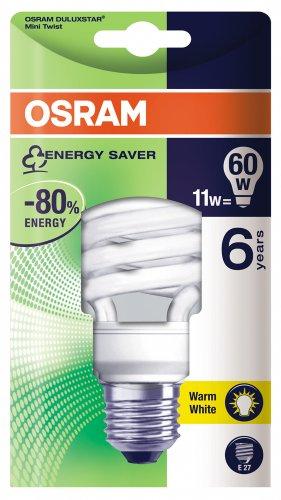 Osram 63160B1 Duluxstar Mini Twist E27 mini Energiesparlampe in gedrehter Form 11W/825, warmweiß