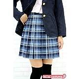 プリーツスカート【チェック柄:ブルーチェック】(Mサイズ) ■TeenS Ever ミニスカート 制服 女子高生■