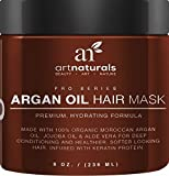 Art Naturals Argan Oil Hair Mask,Deep Conditioner 8 Oz,100% Organic Jojoba Oil,Aloe Vera & Keratin,Repair Dry,Damaged Or Color Treated Hair After Shampoo,Best For All Hair Types -Sulfate Free