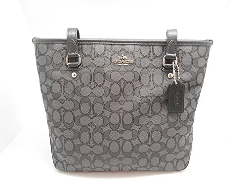 Image of Coach Outline Signature Zip Top Tote Shoulder Bag F55364 (SV/Black Smoke/Black)