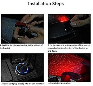 2019 Romantic Auto Roof Star Projector Lights, Flexible Romantic Galaxy USB Night Lamp Fit All Cars Ceiling Decoration Light Interior Ambient Atmosphere (Red with Remote) (Color: Red with Remote)