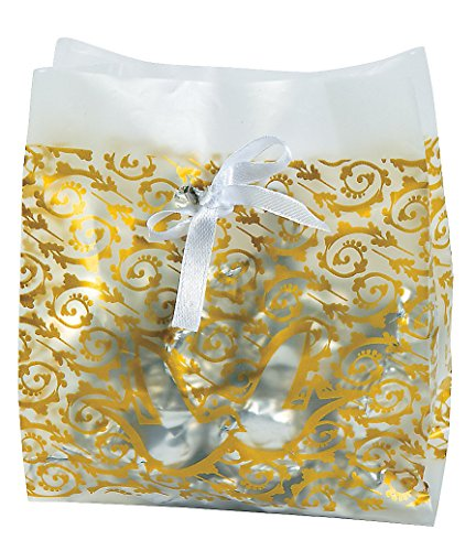 Frosted Gold Wedding Favor Plastic Vellum Bags (48 Pack) Wedding Favor Bags, Gift Wrap