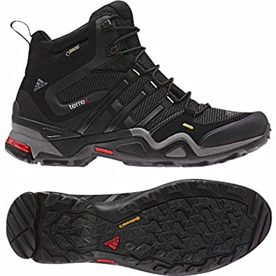 adidas Outdoor Terrex Fast X Mid GTX Hiking Boot - Men's Carbon/Black/Light Scarlet 6