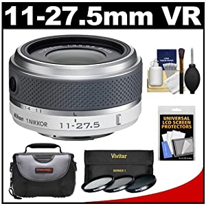 Nikon 1 11-27.5mm f/3.5-5.6 Nikkor-Zoom Lens (White) with 3 UV/CPL/ND8 Filters + Case + Kit for J1, J2, J2, S1. V1 & V2 Digital Cameras