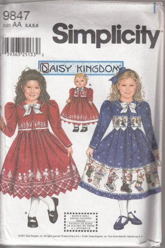 "Simplicity 9847 Size Aa 3,4,5,6 Child'S Dress & Jacket Plus Doll Clothes Pattern For 18"" Doll. front-819040"