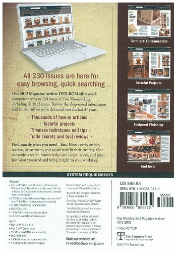 Get 2012 Taunton Fine Woodworking Magazine Archive DVD ROM 230 issues ...
