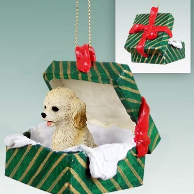 Cockapoo Blond Gift Box Green Ornament (Set of 3)