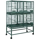 KING'S CAGES Economy Line ELFDD 4020 Quad Cage PARROT STACK BREEDER CAGE 40x20x53 bird cages toy toys conure caique (WHITE)