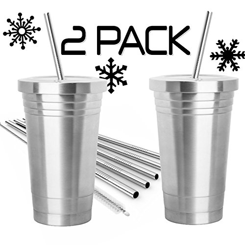 2-pack-stainless-steel-tumbler-16oz-with-4-stainless-steel-straws-2-cleaning-brushes-dual-layer-insu