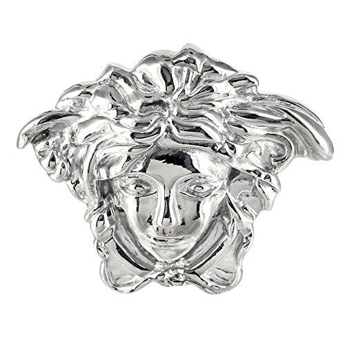 White Gold Finish Stylish Hip Hop Celeb Style Stainless Steel Medusa Belt Buckle