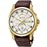 Seiko Premier Chronograph Silver Dial Brown Leather Mens Watch SNAF22P1