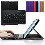 Bestmall Ultra-Slim Removable Wireless Bluetooth Keyboard Keyboard PU Folding Leather Folio Keyboard Case Cover For Apple ipad mini, ipad mini 2, ipad mini 3 Built in Stand Function-Black