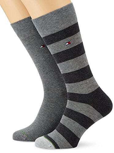 Tommy Hilfiger - TH MEN RUGBY SOCK 2P, Calze uomo, middle grey melange 758, 39/42 (Taglia produttore: 39-42)