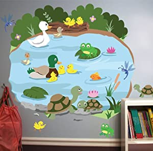 Duck Pond Mural Nursery Room Peel Stick