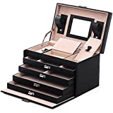 Songmics Black Leather Jewelry Box Lockable Jewelry Case with Mirror and Storage Drawers UJBC001