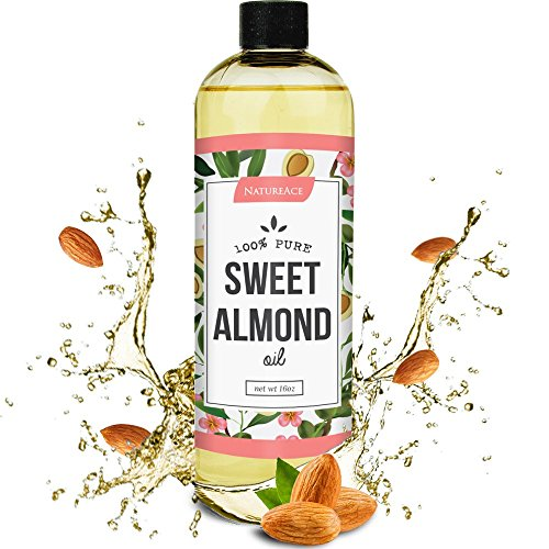 Nature Ace Sweet Almond Oil 16oz - 100% Natural and Organic - For Hair, Face & Skin - All Natural Aromatherapy - Anti Stretch Marks & Acne Solution - Satisfaction Guaranteed (Almond Oil Quart compare prices)