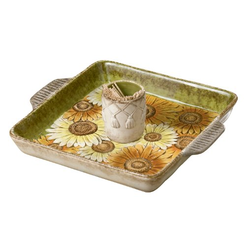 Grasslands Road Indian Summer Sunflower Toothpick Holder with Tray, 3-Inch by 10-Inch by 8-1/4-Inch