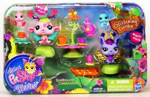 Littlest Pet Shop - Fairies - 39998 - Spellbound Celebration - #2677 Violet Bell Fairy, #2678 Inchworm, #2676 Cherry Bloom Fairy & #2679 Ladybug By Hasbro
