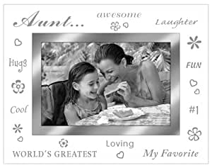 """Malden International Designs Beveled Glass """"Treasures Aunt"""" Metal Picture Frame, 4 by 6-Inch, Silver"""