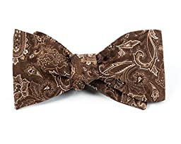 Tudor Paisley 100% Woven Silk Chocolate Brown Self-Tie Bow Tie