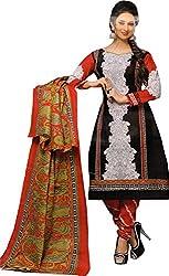 Jodha Women Cotton Dress Material (Laado2219 _Black)