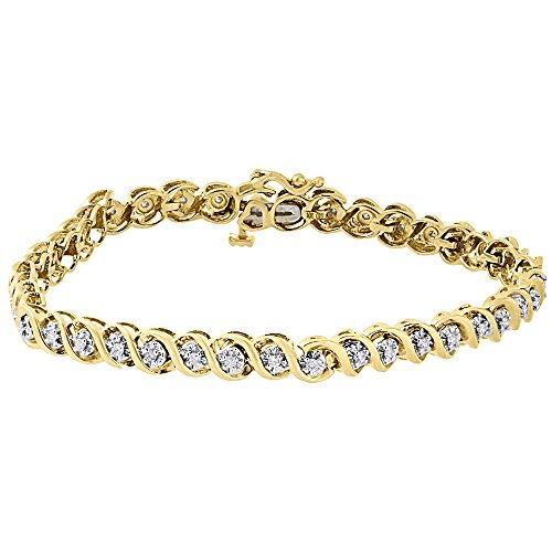 10k Yellow Gold Round Cut Diamond Ladies S Link Tennis Bracelet