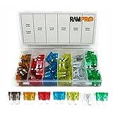 RamPro 120 Pc Car Truck Boat Fuses Assortment Kit - 5, 7.5, 10, 15, 20, 25, 30 AMP - Regular Standard APR/ATO (Open)/ATS Fuses