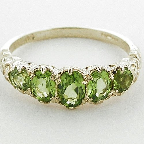 High Quality Solid 14K Yellow Gold Natural Peridot English Victorian Ring - Size 9.25 - Finger Sizes 5 to 12 Available - Perfect Gift for Birthday, Christmas, Valentines Day, Mothers Day, Mom, Mother, Grandmother, Daughter, Graduation, Bridesmaid.
