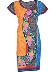 Elegant Cotton Women Kurta (24247siy, Golden & Ferozi, Free Size)