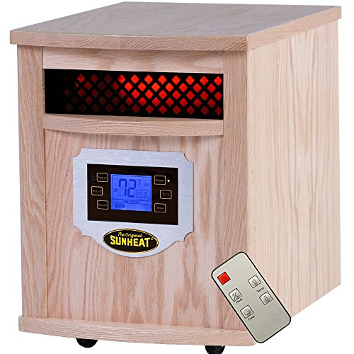 Sunheat International Sh-1500Lcd Electric Portable Infrared Heater With Remote Control And Lcd Display, 1500-Watt, Natural Oak