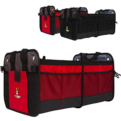 Premium Auto Trunk Organizer- Car Organizer by Tuff Viking® for Car Truck with Removable Divider,Extra Side Pockets,Collapsible, Reinforced Bottom, and Waterproof Interior (Red) (Cargo Organizer With Cooler compare prices)