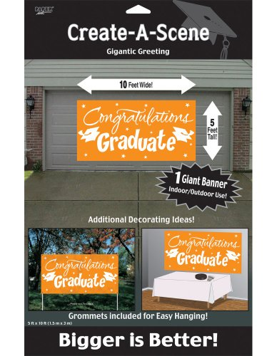 Creative Converting Congrats Grad Paper Art Gigantic Greetings, Orange